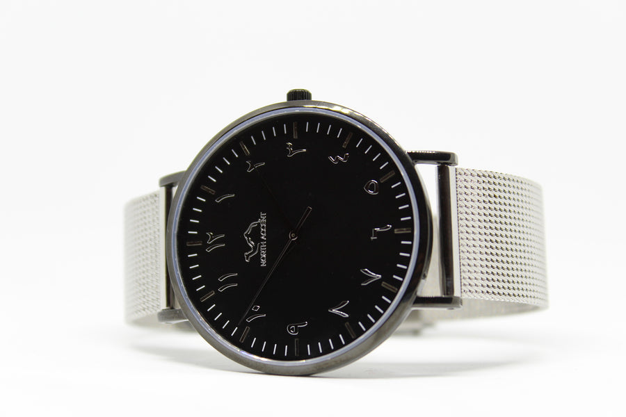 Silver Stainless Steel - Black - Silver - NORTH ACCENT Inc., Watch watches men women luxury arabic watch classic minimalist,