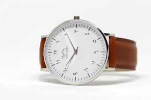 Copper Leather - Silver - White - NORTH ACCENT Inc., Watch watches men women luxury arabic watch classic minimalist,