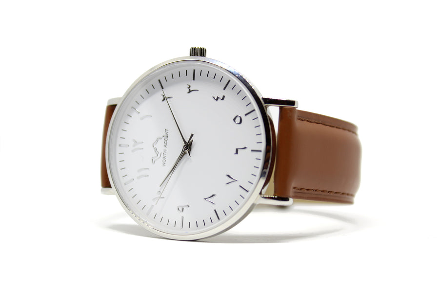 Caramel Leather - Silver - White - NORTH ACCENT Inc., Watch watches men women luxury arabic,