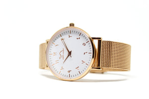 Rose Gold Stainless Steel - Rose Gold - White - NORTH ACCENT Inc., Watch watches men women luxury arabic watch classic minimalist,