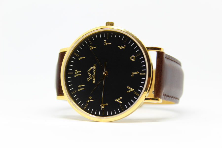 Espresso Leather - Gold - Black - NORTH ACCENT Inc., Watch watches men women luxury arabic watch classic minimalist,
