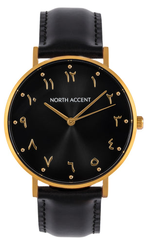 Aswad Gold | Black Leather - NORTH ACCENT Inc., Watch watches men women luxury arabic watch classic minimalist,
