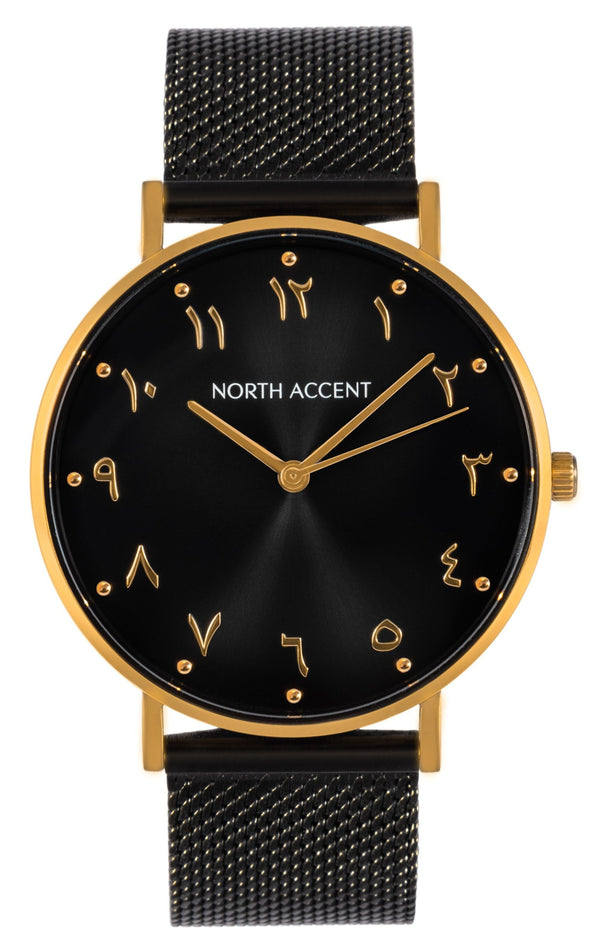Aswad Gold | Black Steel - NORTH ACCENT Inc., Watch watches men women luxury arabic watch classic minimalist,