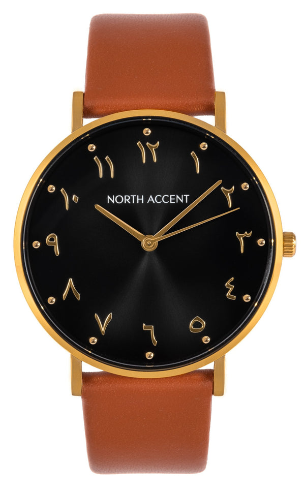 Aswad Gold | Caramel Leather - NORTH ACCENT Inc., Watch watches men women luxury arabic watch classic minimalist,
