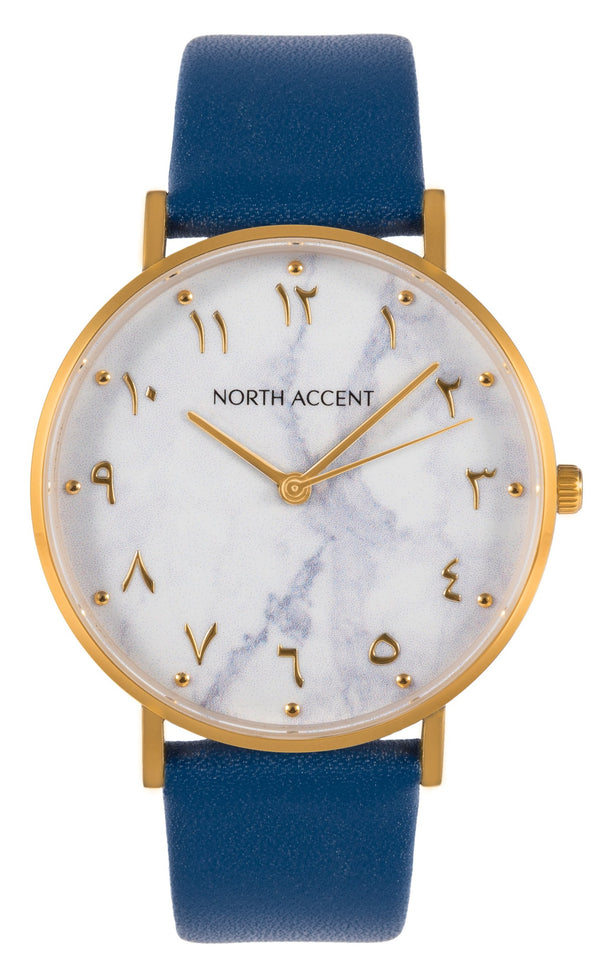 Marble Gold | Blue Leather - NORTH ACCENT Inc., Watch watches men women luxury arabic watch classic minimalist,