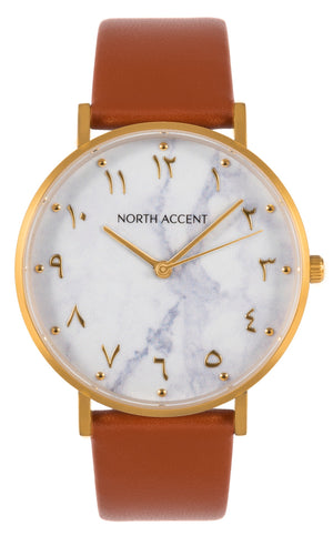 Marble Gold | Caramel Leather - NORTH ACCENT Inc., Watch watches men women luxury arabic watch classic minimalist,