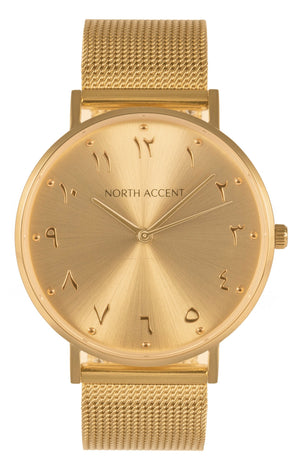 Soleil Gold | Gold Steel - NORTH ACCENT Inc., Watch watches men women luxury arabic watch classic minimalist,
