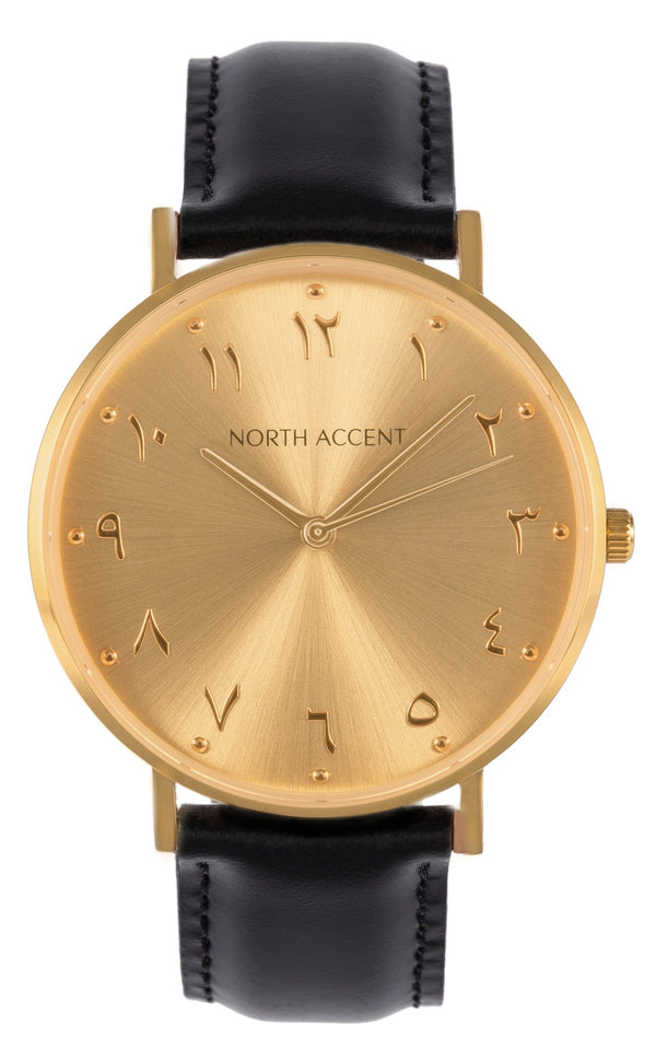 Soleil Gold | Black Leather - NORTH ACCENT Inc., Watch watches men women luxury arabic watch classic minimalist,