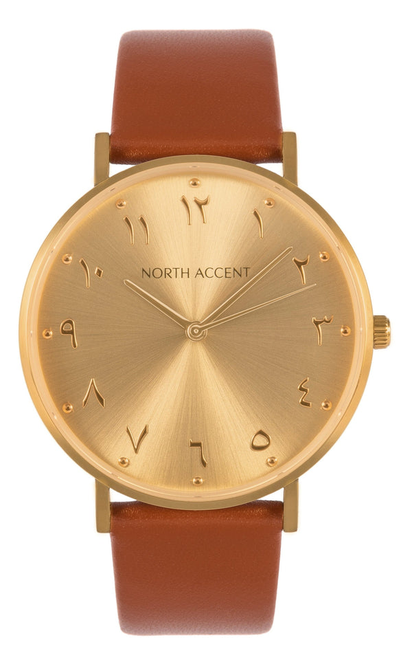 Soleil Gold | Caramel Leather - NORTH ACCENT Inc., Watch watches men women luxury arabic watch classic minimalist,
