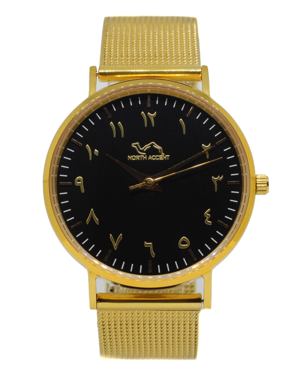 Gold Stainless Steel - Black - Gold - NORTH ACCENT Inc., Watch watches men women luxury arabic watch classic minimalist,