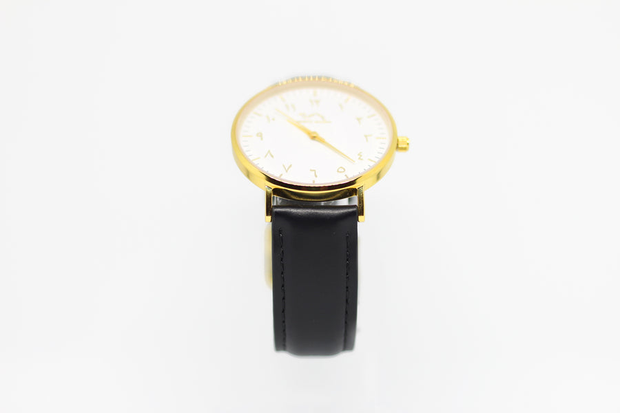 Black Leather - Gold - White - NORTH ACCENT Inc., Watch watches men women luxury arabic,