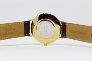 Espresso Leather - Gold - White - NORTH ACCENT Inc., Watch watches men women luxury arabic watch classic minimalist,