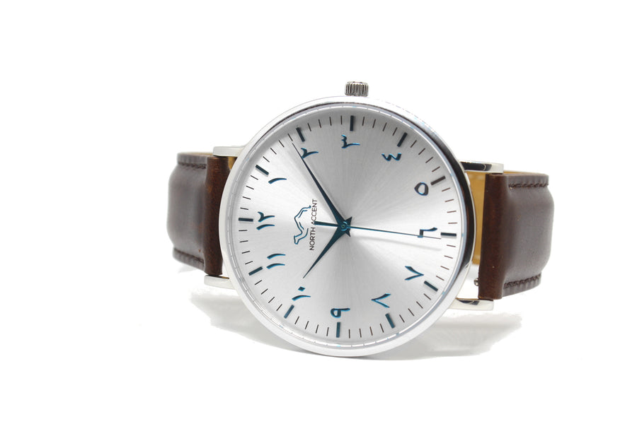 Glacier Limited Edition - Espresso Leather - NORTH ACCENT Inc., Watch watches men women luxury arabic watch classic minimalist,