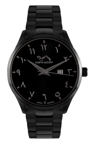 GRAND - Black Silver - NORTH ACCENT Inc., Watch watches men women luxury arabic watch classic minimalist,