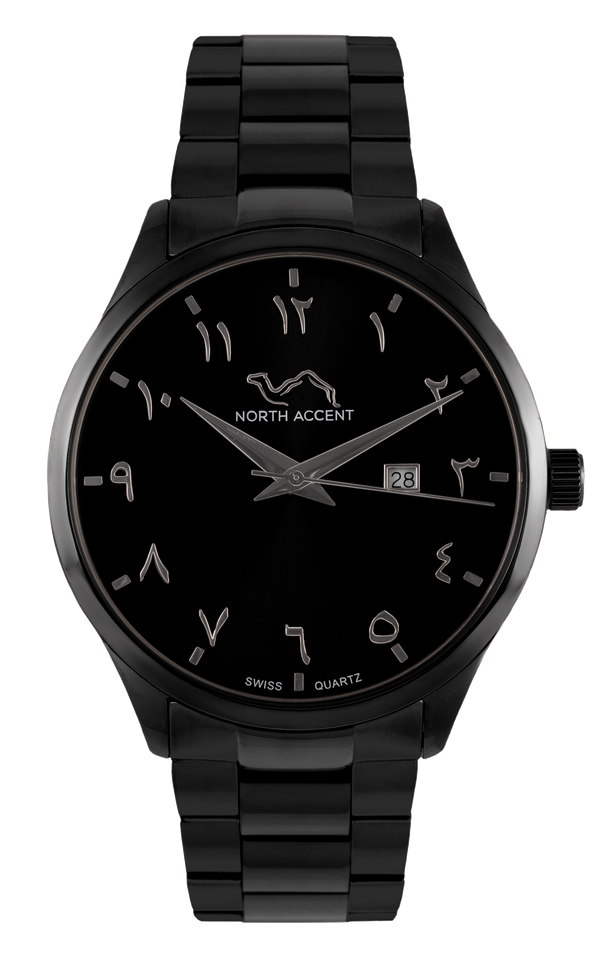 GRAND | Black Silver - NORTH ACCENT Inc., Watch watches men women luxury arabic watch classic minimalist,