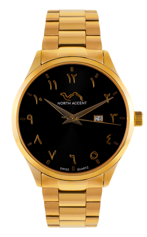 GRAND - Gold Black - NORTH ACCENT Inc., Watch watches men women luxury arabic watch classic minimalist,