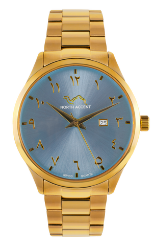 GRAND | Gold Ice Blue - NORTH ACCENT Inc., Watch watches men women luxury arabic watch classic minimalist,