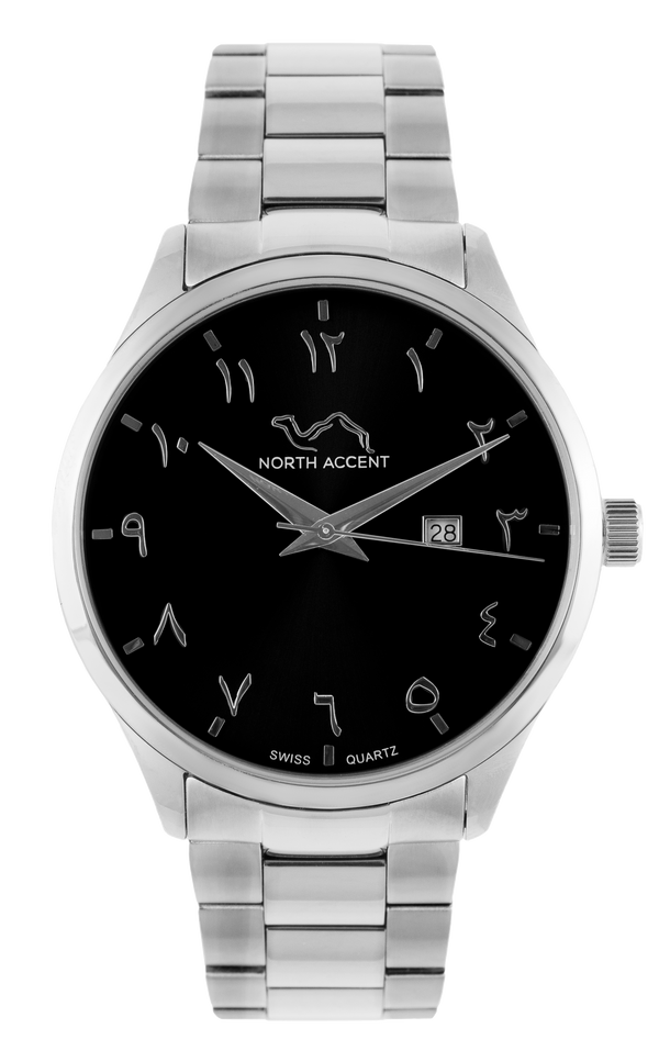 GRAND - Silver Black - NORTH ACCENT Inc., Watch watches men women luxury arabic watch classic minimalist,