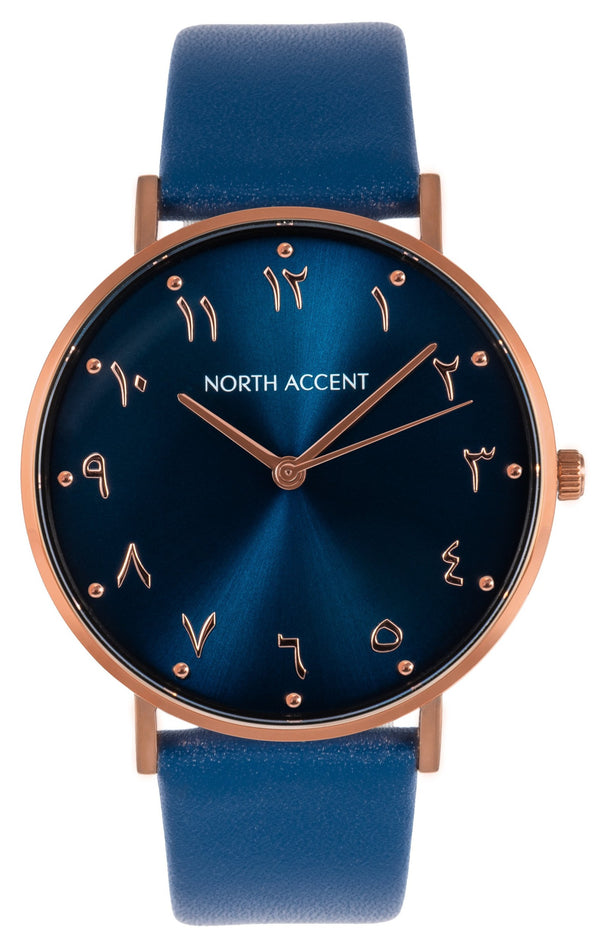 Azure Rose | Blue Leather - NORTH ACCENT Inc.,  watches men women luxury arabic watch classic minimalist,