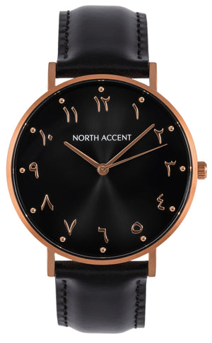 Aswad Rose | Black Leather - NORTH ACCENT Inc., Watch watches men women luxury arabic watch classic minimalist,
