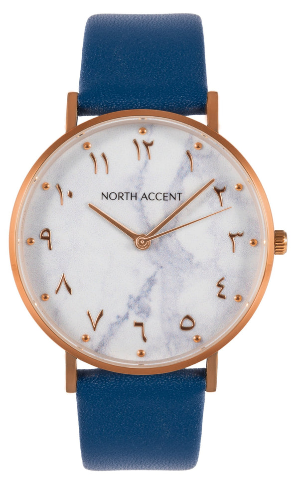 Marble Rose | Blue Leather - NORTH ACCENT Inc., Watch watches men women luxury arabic watch classic minimalist,