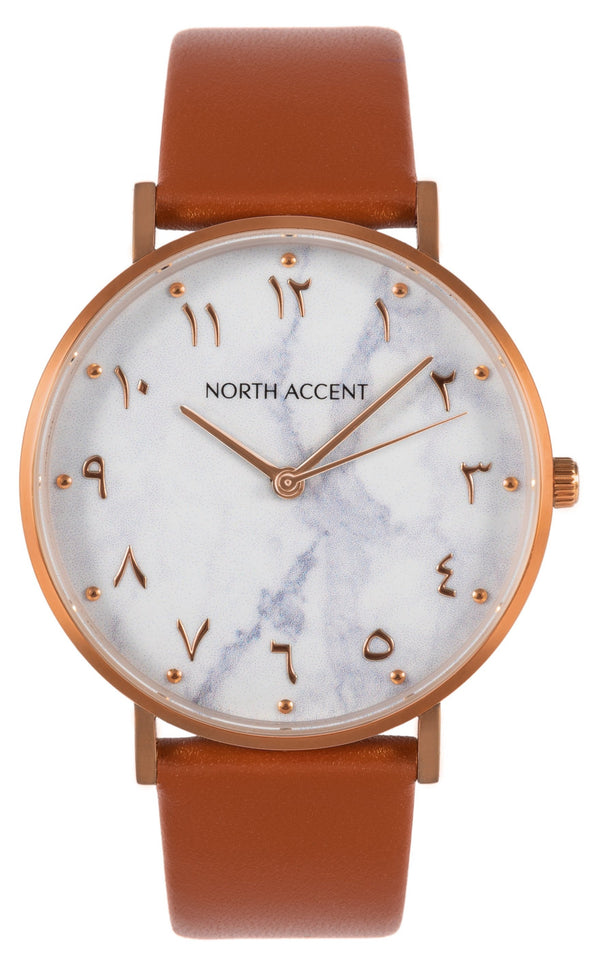 Marble Rose | Caramel Leather - NORTH ACCENT Inc., Watch watches men women luxury arabic watch classic minimalist,