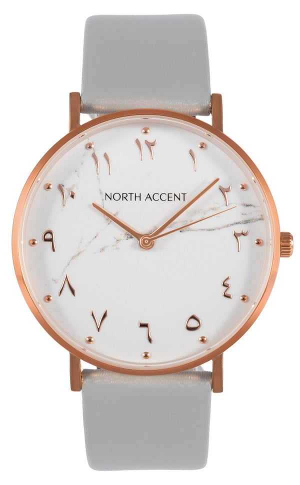 Marble Rose | Gray Leather - NORTH ACCENT Inc., Watch watches men women luxury arabic watch classic minimalist,