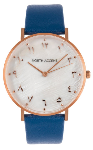 Pearl Rose | Blue Leather - NORTH ACCENT Inc., Watch watches men women luxury arabic watch classic minimalist,