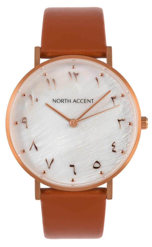 Pearl Rose | Caramel Leather - NORTH ACCENT Inc., Watch watches men women luxury arabic watch classic minimalist,