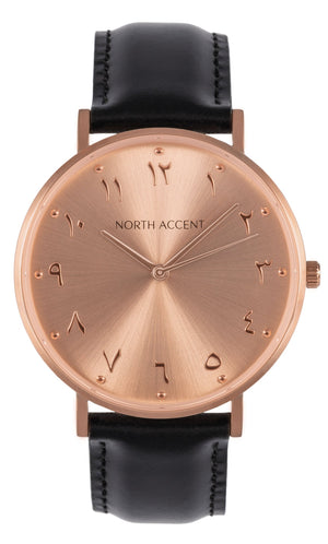 Soleil Rose | Black Leather - NORTH ACCENT Inc., Watch watches men women luxury arabic watch classic minimalist,