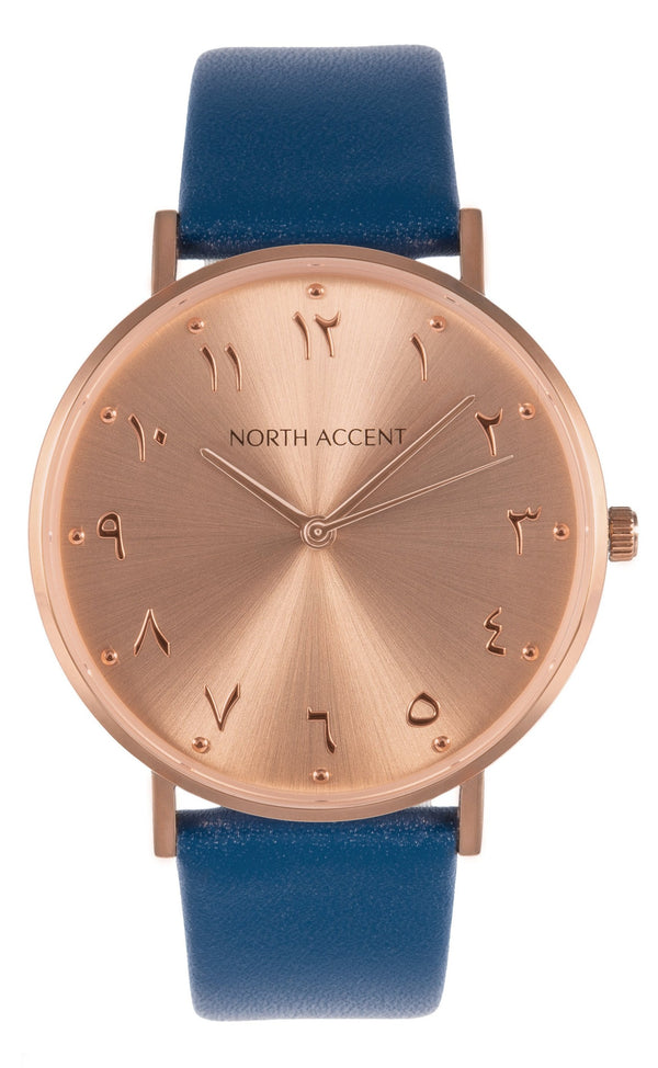 Soleil Rose | Blue Leather - NORTH ACCENT Inc., Watch watches men women luxury arabic watch classic minimalist,
