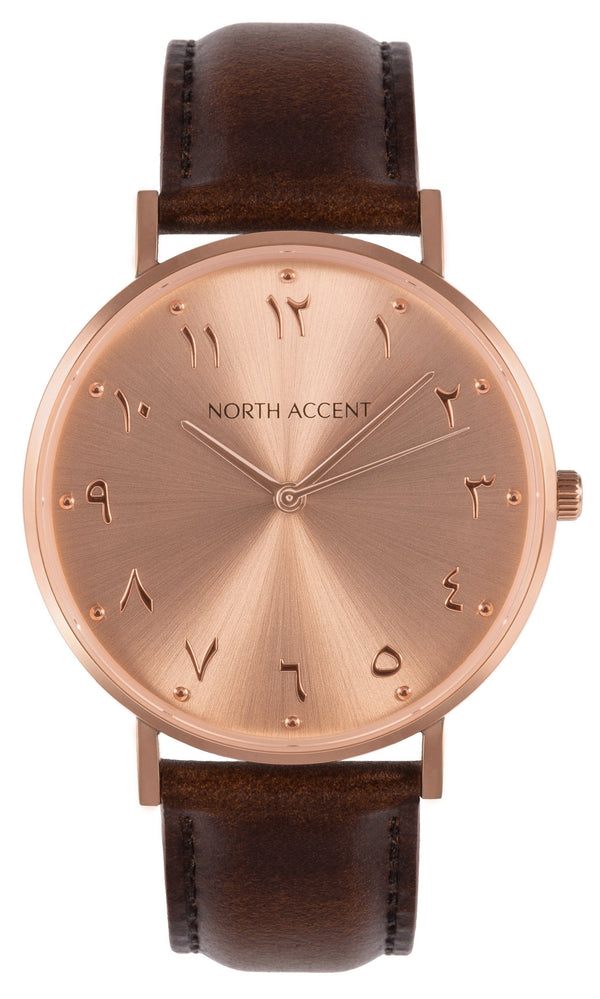Soleil Rose | Espresso Leather - NORTH ACCENT Inc., Watch watches men women luxury arabic watch classic minimalist,