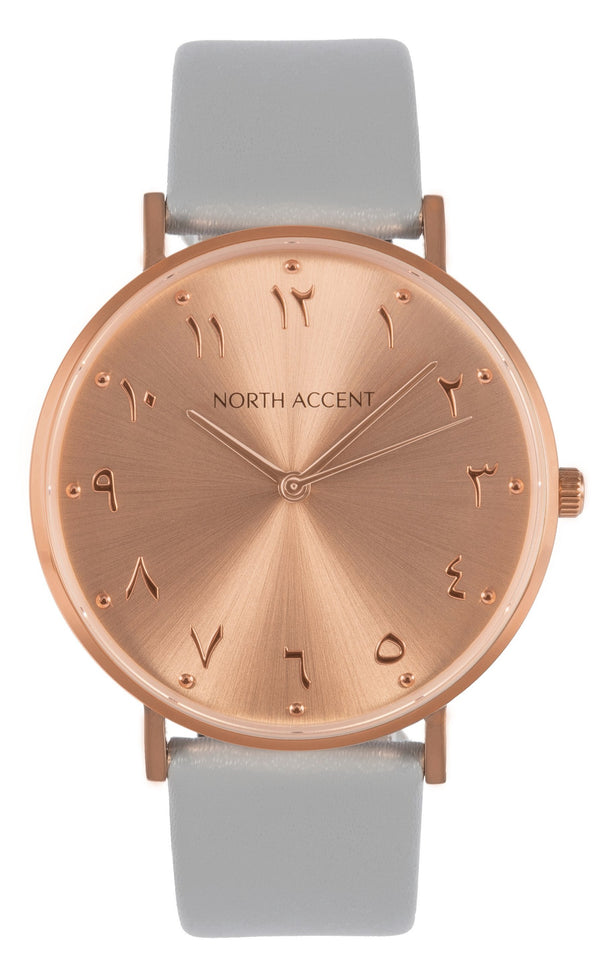 Soleil Rose | Gray Leather - NORTH ACCENT Inc., Watch watches men women luxury arabic watch classic minimalist,