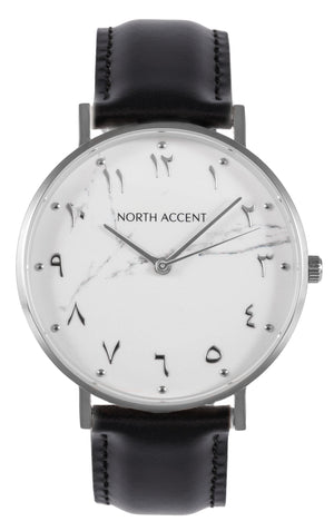 Marble Silver | Black Leather - NORTH ACCENT Inc., Watch watches men women luxury arabic watch classic minimalist,