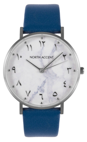 Marble Silver | Blue Leather - NORTH ACCENT Inc., Watch watches men women luxury arabic watch classic minimalist,