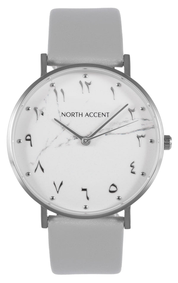 Marble Silver | Gray Leather - NORTH ACCENT Inc., Watch watches men women luxury arabic watch classic minimalist,