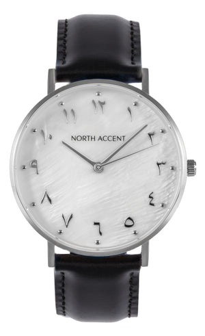 Pearl Silver | Black Leather - NORTH ACCENT Inc., Watch watches men women luxury arabic watch classic minimalist,