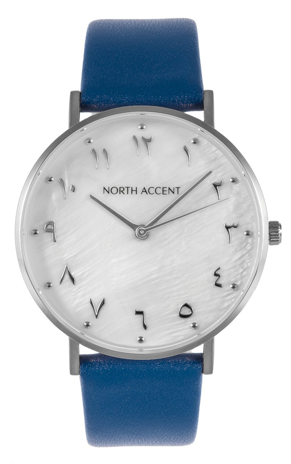Pearl Silver | Blue Leather - NORTH ACCENT Inc., Watch watches men women luxury arabic watch classic minimalist,