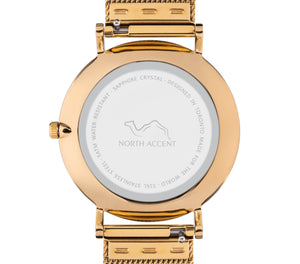 Soleil Gold | Gray Leather - NORTH ACCENT Inc., Watch watches men women luxury arabic watch classic minimalist,