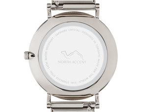 Marble Silver | Silver Steel - NORTH ACCENT Inc., Watch watches men women luxury arabic watch classic minimalist,