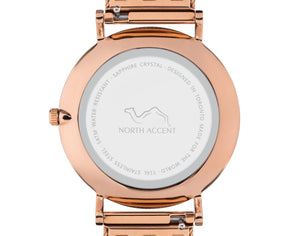 Pearl Rose | Gray Leather - NORTH ACCENT Inc., Watch watches men women luxury arabic watch classic minimalist,