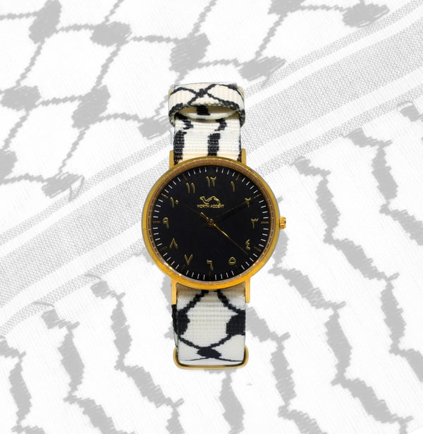 White Kufiya - Gold/Black - NORTH ACCENT Inc., Watch watches men women luxury arabic watch classic minimalist,