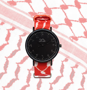 Red Kufiya - Black - NORTH ACCENT Inc., Watch watches men women luxury arabic watch classic minimalist,