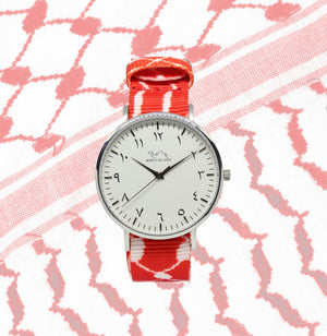 Red Kufiya - Silver - NORTH ACCENT Inc., Watch watches men women luxury arabic watch classic minimalist,