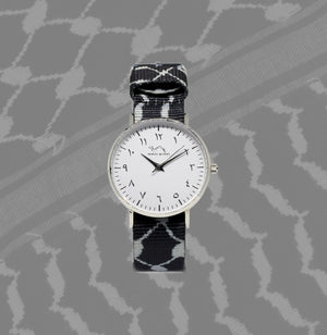 Black Kufiya - Silver - NORTH ACCENT Inc., Watch watches men women luxury arabic watch classic minimalist,