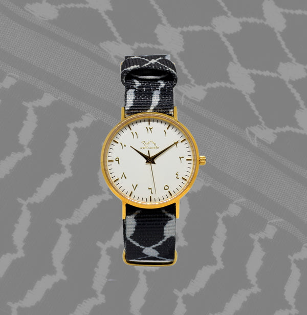 Black Kufiya - White & Gold - NORTH ACCENT Inc., Watch watches men women luxury arabic watch classic minimalist,