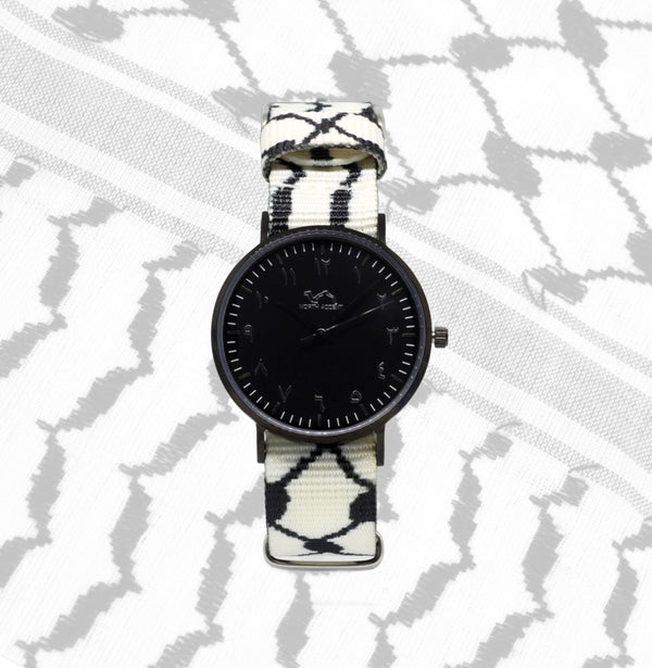 White Kufiya - Black - NORTH ACCENT Inc., Watch watches men women luxury arabic watch classic minimalist,