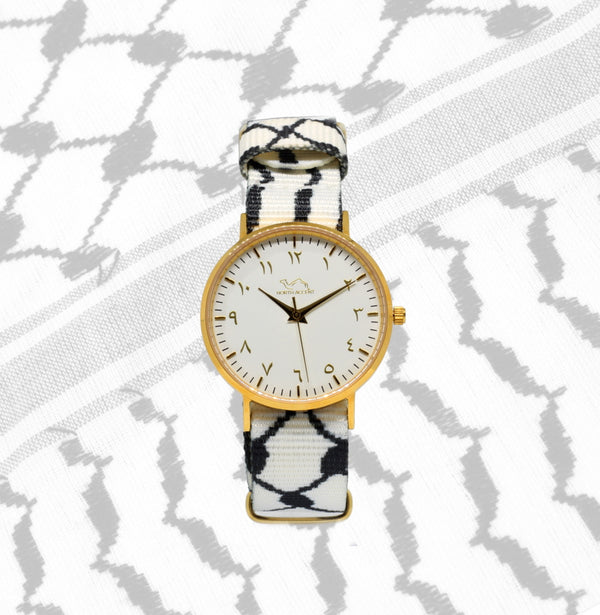 White Kufiya - Gold/White - NORTH ACCENT Inc., Watch watches men women luxury arabic watch classic minimalist,