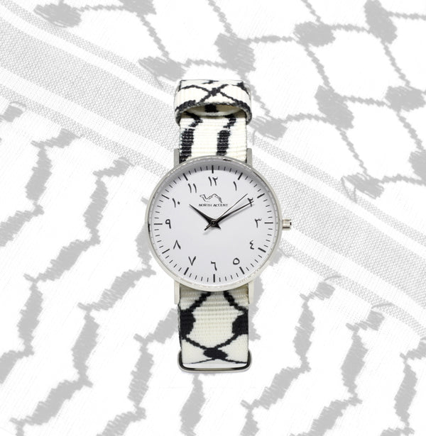 White Kufiya - Silver - NORTH ACCENT Inc., Watch watches men women luxury arabic watch classic minimalist,