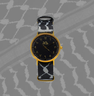 Kufiya Set in Gold/Black - NORTH ACCENT Inc., Watch watches men women luxury arabic watch classic minimalist,